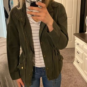 PacSun hooded army green utility jacket, size S